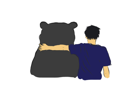 unidentified: Unidentified man hug the big black bear for encourage my own sketch drawing with coloring