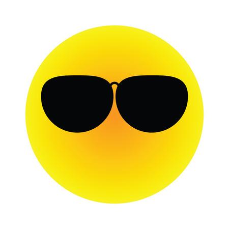The yellow orange gradien sun wear black polarized sunglasses vector flat icon isolated on white background Illustration