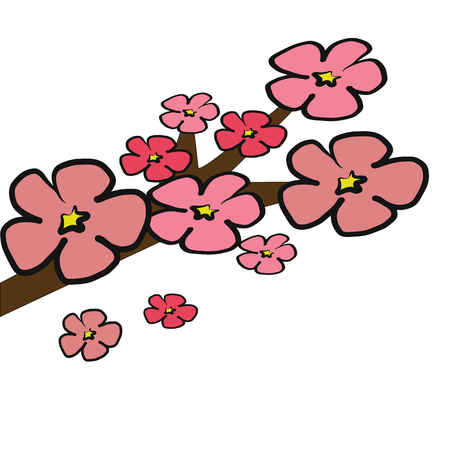 cherry blossom tree: Cherry Blossom tree branch  illustration with pink 5 petals isolated on white background