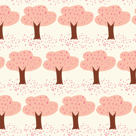 petal: Cherry Blossom tree with petal drop on the ground seamless illustration vector background