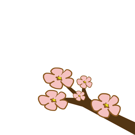 cherry blossom flower branch tree with pink and red illustration vector download with copy space isolated