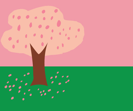 pink sky: Cherry Blossom tree like kid draw illustration with petals drop on the ground with pink sky