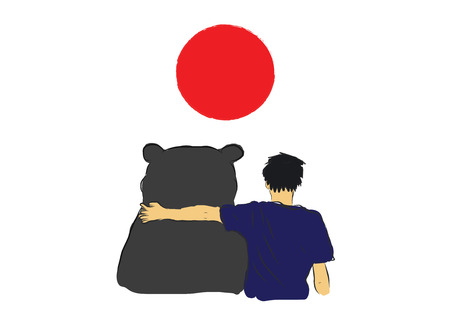 quake: Unknown man hug the big bear for encourage by my own  sketch drawing under the red circle of Japan flag