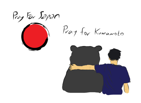 Pray For Japan With Unknown Man Hug The Big Bear For Encourage