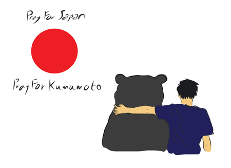 incident: Pray for Japan and Kumamoto province for the eartquake diaster incident with unknown man hug the big bear for encourage by my own  sketch drawing under the red circle of Japan flag