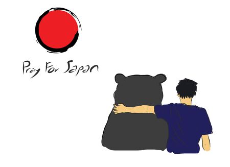 quake: Pray for Japan with unknown man hug the big bear for encourage by my own  sketch drawing  under the red circle of Japan flag Illustration