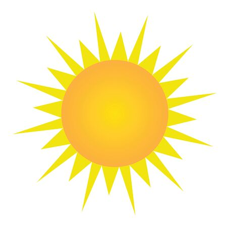 uv: Sun with orange and yellow gradient with yellow sun light vector on isolated white background