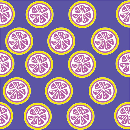 softdrink: Pink lemon slices seamless on purple background with clipping mask
