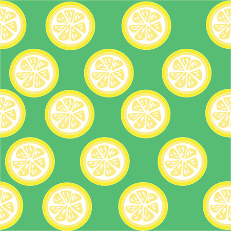 lemon slices: Lemon and lemon slices seamless on green background with clipping mask