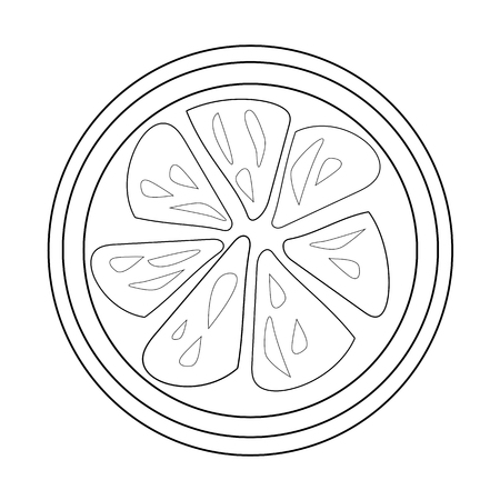 Lemon Slice Outline For Coloring Book Vector Download Isolated On White Background
