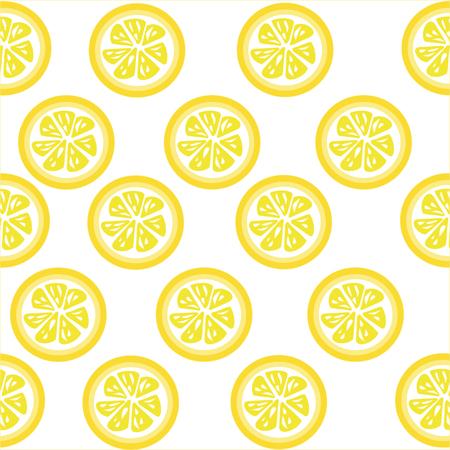 slices: Lemon slices seamless on white background