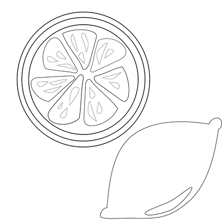 Lemon And Slice Outline For Coloring Book Vector Download Isolated On White Background