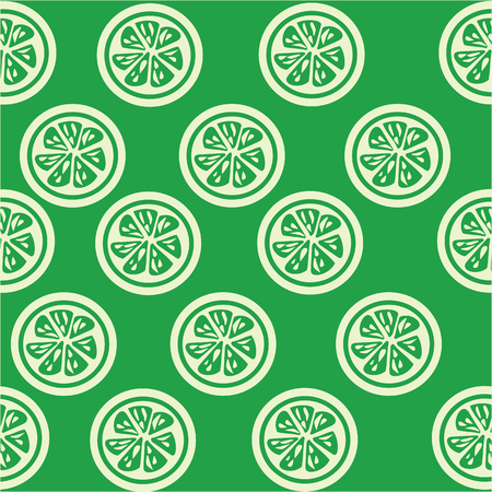 slices: Green Lime slices seamless on green background Illustration