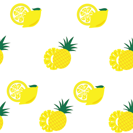pine apple: Pineapple and Lemon  with slices on white background seamless