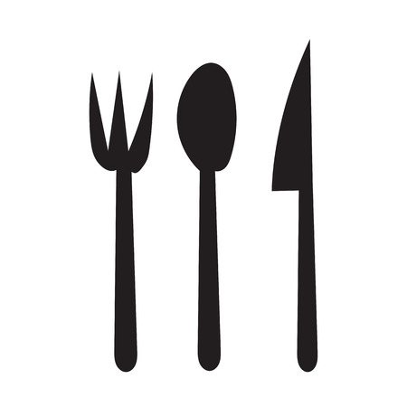 fork and spoon: Fork , Spoon and Knife  hand draw sillouhette icon  for the meal with outline on white background