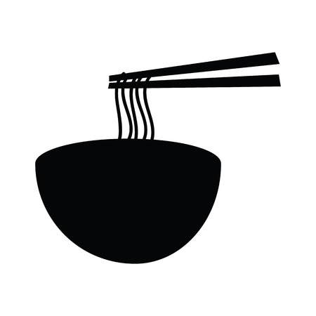 noodle bowl: Hot  noodle bowl with chopsticks grap the noodles  silhouette icon isolated on white background
