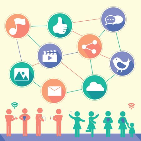 Social Network flat icon design