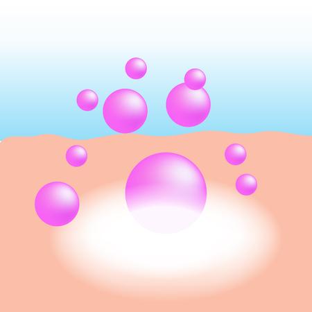 colágeno rosa o vitamina esencial absorben en la piel humana con el brillo blanco de absorción de luz vector de infografía