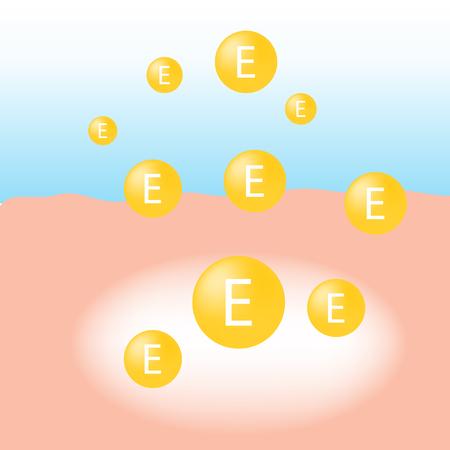 La vitamine E absorber sur la peau humaine avec une lueur blanche absorption de la lumière vecteur infographique