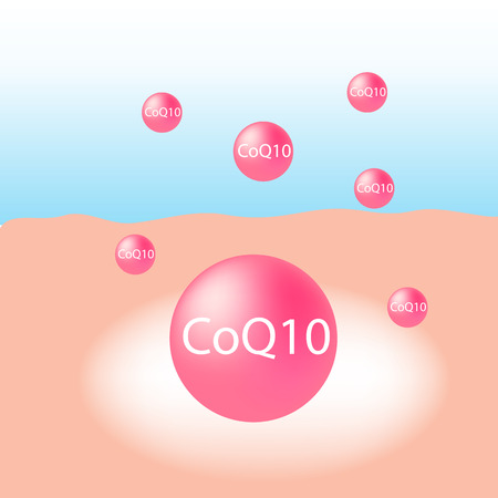 b ball: Co enzyme-Q10 in cream treatment absorb on the human skin with white glow light absorption infographic vector
