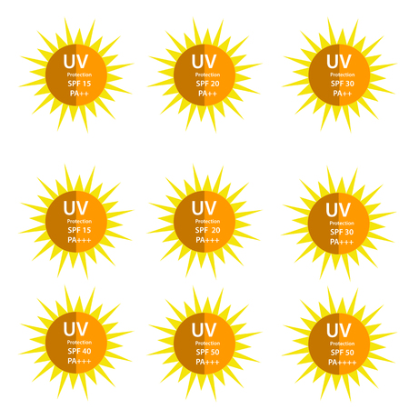 uv index: UV Protection with half shadow sun with SPF betweetn 15 to 50 and with UVA protection index (PA) with two and three plus Illustration
