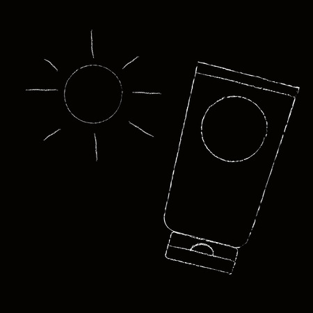 chalk line: Sunscreen product with sun in doodle draw with chalk line on blackboard
