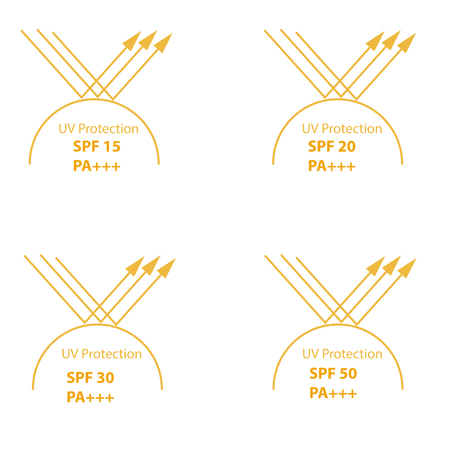 UV Protection  symbol and with index of protection in SPF between 15 to 50 and PA mean protect from UVA Illustration