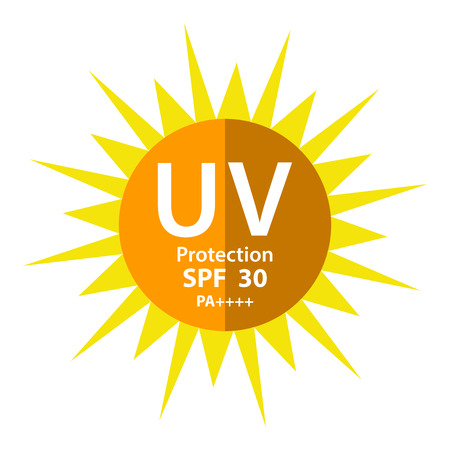 UV Protection with SPF 30 PA 3 plus isolated on white background