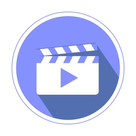 violette: Video or Footage library icon in violette color isolated on white background flat design
