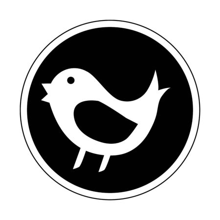tweet: Bird mean tweet icon in black and white color isolated on white background flat design