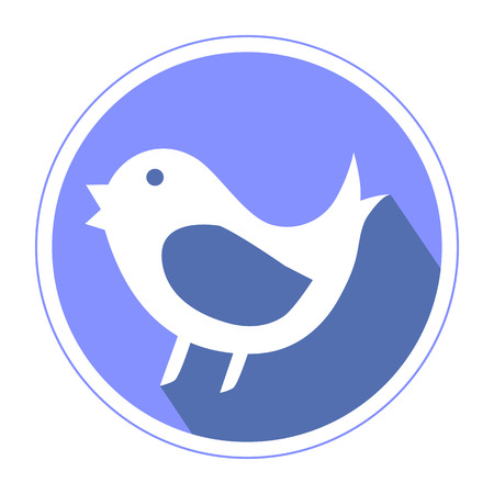 tweet: Bird mean tweet icon inviolette color isolated on white background flat design