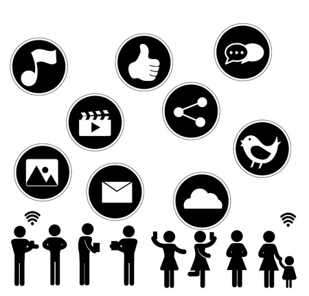 thumbup: Social Network flat icon design with people sillouhette on white background Illustration
