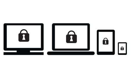 security symbol: Security with lock symbol on notebook,PC,tablet and smartphone for use in banner or advertisement