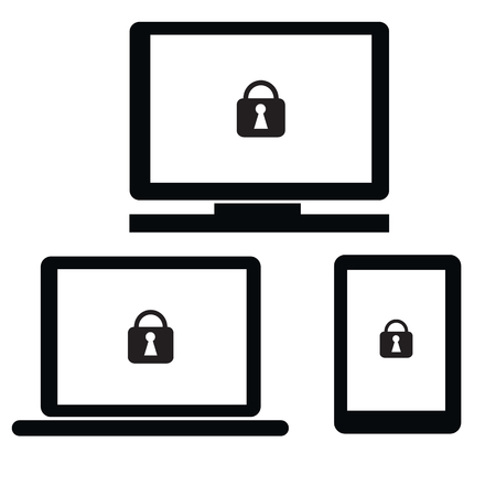 lock symbol: Security with lock symbol on notebook,PC,tablet and smartphone