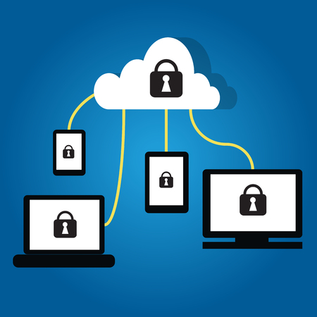 encode: Cloud technology with security lock symbol on devices  such as PC ,Tablet,smartphone and cloud server Illustration