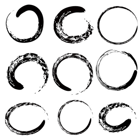 Circle of Zen (Buddhism in Chinese and Jpanese symbol) 9 shape set