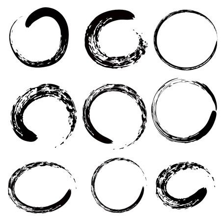 Circle of Zen (Buddhism in Chinese and Jpanese symbol) 9 shape set