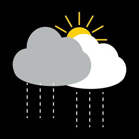 dark cloud: Sun with rain with dark cloud and white cloud vector on black background