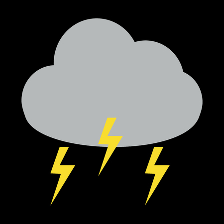 storm cloud: Thunder storm cloud icon on black background Illustration