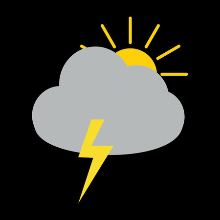 thunder cloud: Thunder storm cloud with sun behind icon on black background Illustration
