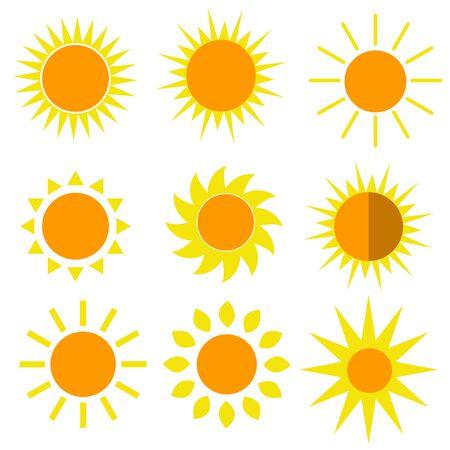 Sun 9 icons  set vector illustrations