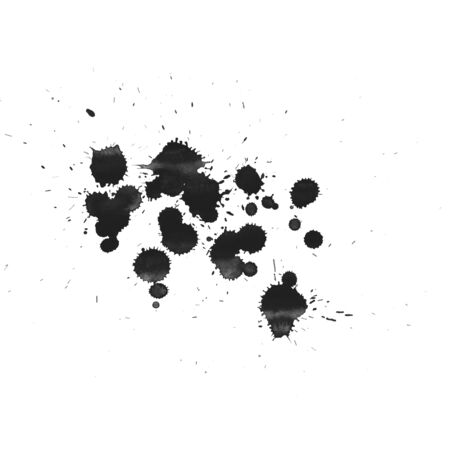 illus: Abstract painted ink and watercolor,color splatter for use in brushes or background for abstract creative work in many kind of pattern isolated on white background