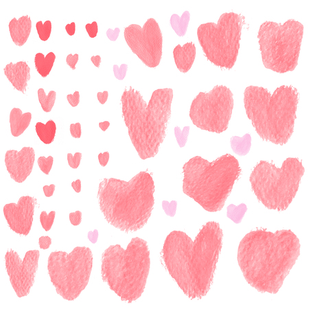 loveheart: Red Heart brushes in for using in water color brush on art rough paper type.Heart brushes set for valentine day or symbol of heart in love.Heart water color background or sticker symbol of love