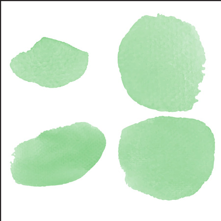 Water color brush on paper rough use for custom brush in Photo editor or use in commercial use 4 shape green color collection vector illustrations Illustration