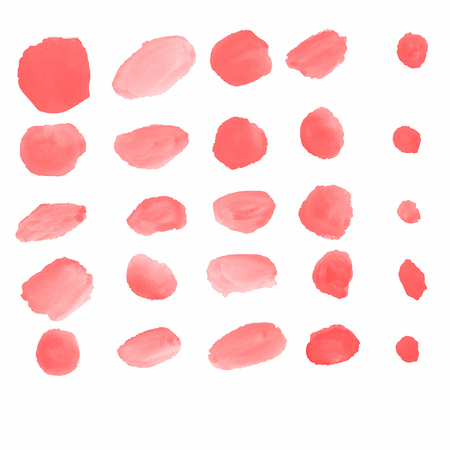 Realistic Water color brushes in red color 25 shapes abstract for use in background or customize brush isolated on white background Illustration