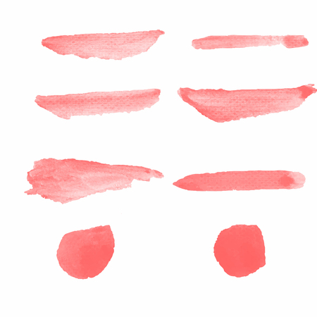 Realistic Water color brushes 8 shapes set in red color abstract for use in background or customize brush isolated on white background