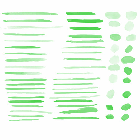 Water color brushes 59 blob shapes  set on paper art use for custom brush in Photo editor or use in commercial green color collection vector illustrations Illustration