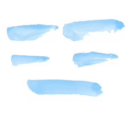 5 Blue Water color brushes  on paper art vector illustrations for using in art work