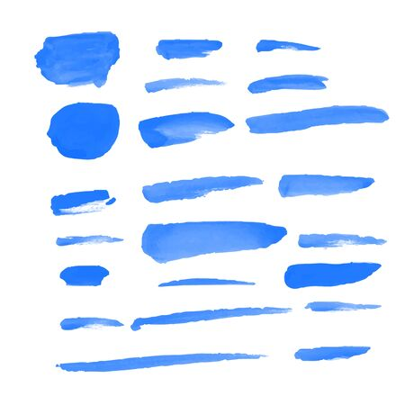 22 Blue Water color brushes  on paper art vector illustrations for using in art work