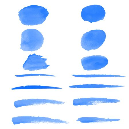 14 Blue Water color brushes  on paper art vector illustrations for using in art work